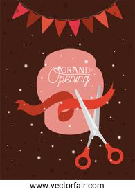 grand opening frame with scissorscuting ribbon and garlands