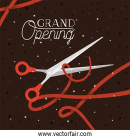 grand opening message with scissors cutting red tape