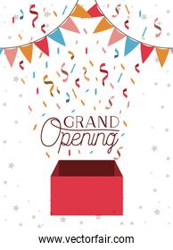 grand opening card with confetti box and garlands hanging