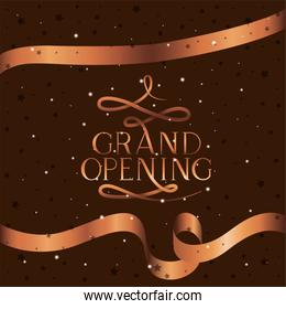 grand opening message with golden ribbon