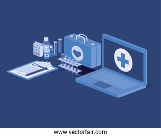 laptop telemedicine service with medical kit and drugs