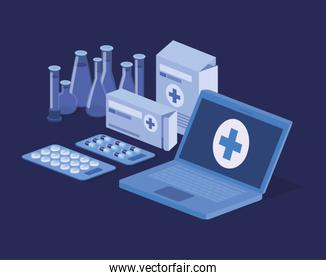 laptop telemedicine service with tube tests