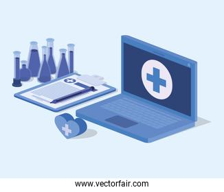 laptop telemedicine service with checklist and icons