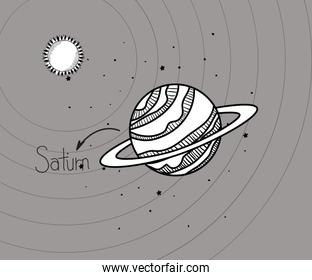 Saturn planet and sun draw of solar system design