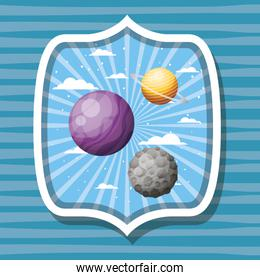 Space planets and moon over striped label design vector illustration