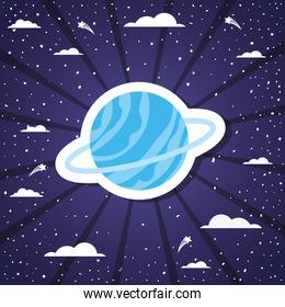 Space planet over striped background vector illustration