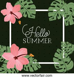Hello summer and vacation frame design
