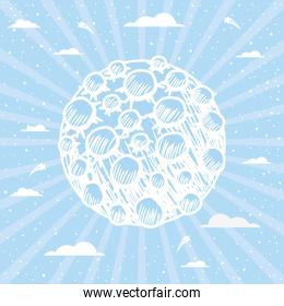 Moon over striped background design