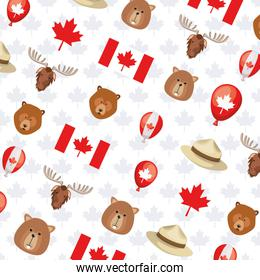 Canada flag and forest animal background design