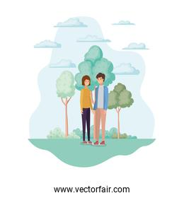 Woman and man in the park design