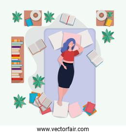 young fat woman relaxing in mattress in the bedroom