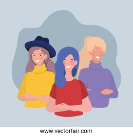 group of young women standing characters