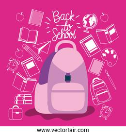 schoolbag and supplies back to school
