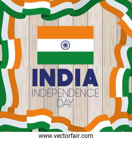 independence day indian flag with wooden background