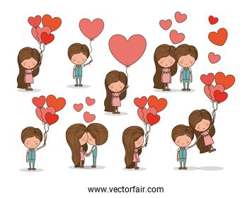 Cute set of couple in love