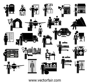 Icon set of working people