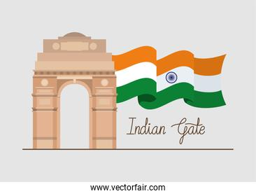 indian gate temple with flag
