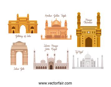 indian set temples architecture icons