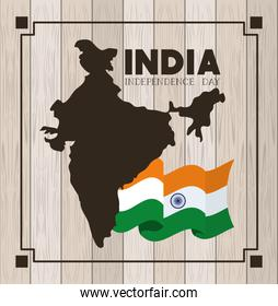 independence day indian flag and map with wooden background