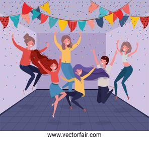 young people dancing in the room