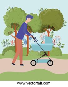 father taking care of newborn baby with cart in the park