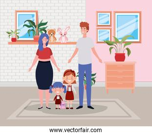 family members in house place scene