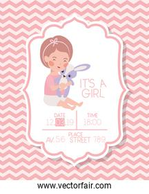 its a girl baby shower card with kid and rabbit stuffed