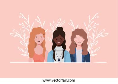 young and beautiful interracial girls group characters
