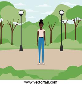 young and beautiful afro girl in the park
