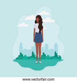young and beautiful afro girl in the landscape character