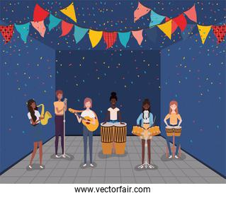 interracial group of women playing instruments characters