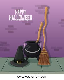 halloween celebration card with witch cauldron and broom