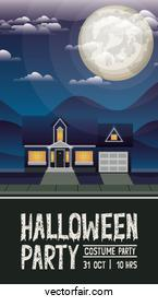 halloween celebration card with house in the night