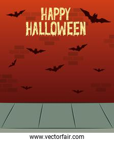 halloween celebration card with bats flying
