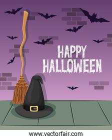 halloween celebration card with witch hat and broom