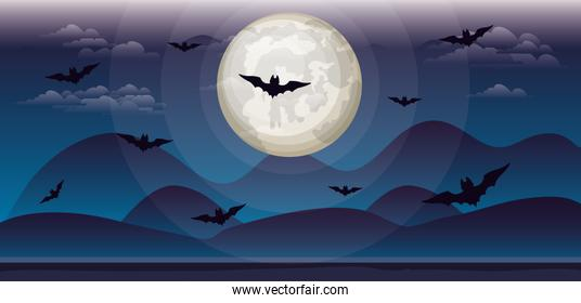 halloween celebration card with bats flying in the sky