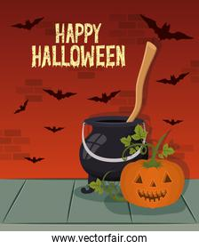 halloween celebration card with witch cauldron and pumpkin