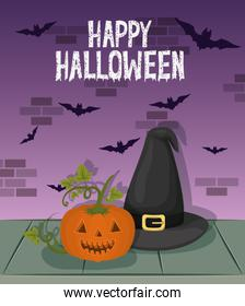 halloween celebration card with witch hat and pumpkin