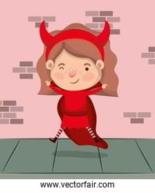 little girl with devil costume in wall character