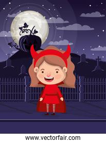 little girl with devil costume in cemetery character