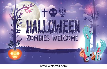 Halloween zombies welcome design ,vector illustration