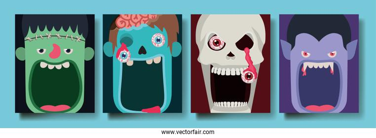 Halloween cartoon heads design ,vector illustration