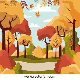 Autumn landscape design ,vector illustration
