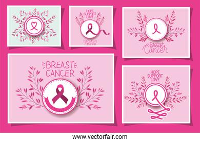 Breast Cancer Awareness ribbon campaign set cards