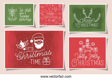 bundle of merry christmas cards with calligraphy and icons