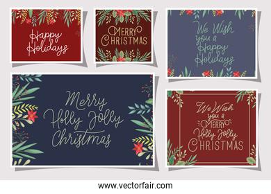 bundle of merry christmas card with calligraphy and floral decoration