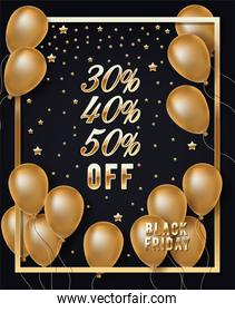 black friday golden frame with balloons helium and stars