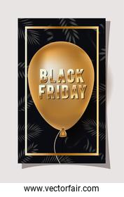 black friday calligraphy in golden frame with balloon helium
