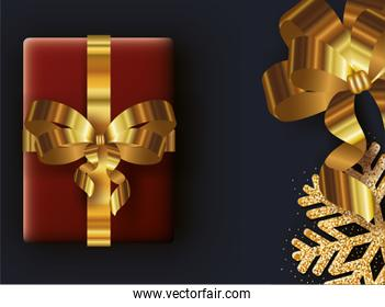 merry christmas card with gift and golden snowflake