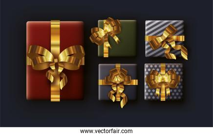 merry christmas card with gifts and golden ribbons